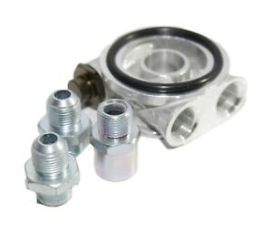 Oil Cooler Filter Sandwich Plate Silver thermostat Adapter 3 4 16 unf W An8