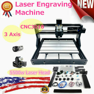 5500mw Cnc 3018 Pro Machine Router Laser Engraving Pcb Wood Diy Milling Engraver