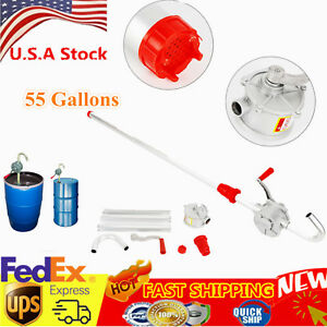 55 Gal Self Priming Rotary Hand Oil Pump Fuel Barrel Drum Syphon Transfer Tool