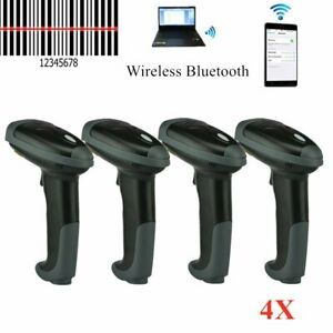 4pcs Wireless Bluetooth Laser Barcode Scanner Handheld Automatic Bar Code Gun