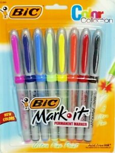 Rare Bic Color Collection Mark it Permanent Markers 8 Ultra Fine Point Markers