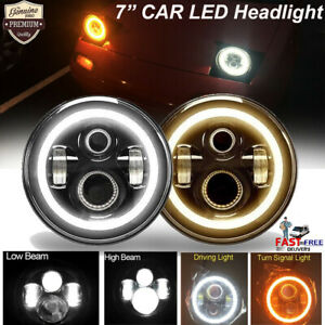 2pcs 7 Cree Led Headlight W Angel Eye Hi Low Beam For Ford Mustang 1965 1973
