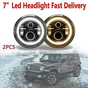 For Ford Mustang 7 Led Headlight W Angel Eye Drl Light Hi Lo Beam White Amber
