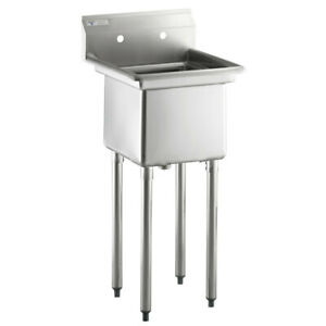 Steelton 20 1 2 18 gauge Stainless Steel One Compartment Commercial Sink