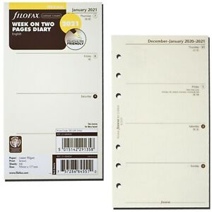 2021 Filofax Personal Size Refill 21 68424 Cotton Cream Week On Two Pages