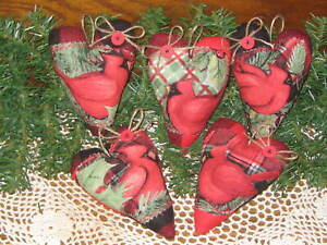 5 Appliqued Cardinal Hearts Country Christmas Decor Wreath Accents Ornaments