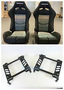 Bride Gias V1 Black Gradation Frp Racing Pair Seats W 240sx Brackets S13 S14