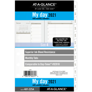 At a glance Daily monthly Planner Refill 5 1 2 X 8 1 2 2021 481 225a 21