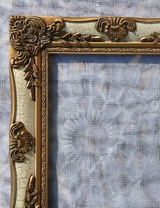 Vintage Baroque Ornate Picture Frame Gold Gesso Antiqued Crackle Finish 8x10