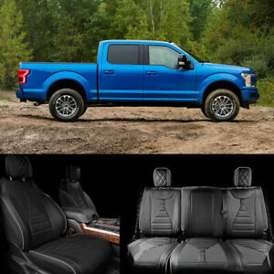 For 2015 2018 20 Ford F150 Super Crew Leather Seat Front Rear F150 Seat Covers