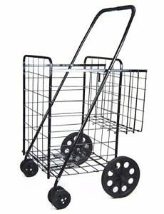 Jumbo Shopping Cart W Double Basket And Swivel Wheels With Matching Blue Liner