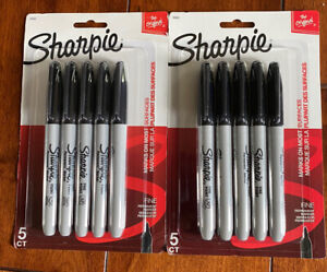 2 5ct Packs Of Black Sharpie Fine Point Permanent Markers Total 10 Markers
