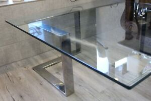 Chrome Glass Coffee Table By Directional Milo Baughman Era Mid Century Modern
