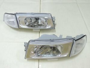 1998 99 00 2001 Mitsubishi Lancer Evo 5 6 Chrome Headlights Clear Corner Light