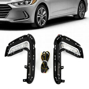 2x Daytime Running Lamp Led Fog Turn Signal Light Assy For Hyundai Elantra 17 18