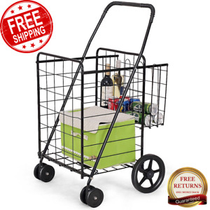 Jumbo Basket W Swivel Wheels Travel Grocery Laundry Foldable Multifunctional
