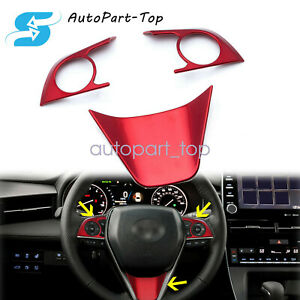 3pcs Red Abs Steering Wheel Cover Decoration Trim Fit For Toyota Camry 2018 2020