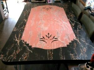 Mid Century Modern Swirl Retro Formica Top Kitchen Table Black Grey Pink Design