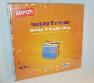 Staples Hanging File Frame With 12 Hanging Folders Letter Size Office Work Home