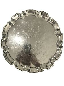Cavalier Silver Plated 12 5 Serving Tray W Pie Crust Edge Used Vintage