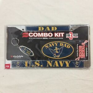 U S Navy Dad Metal License Plate Frame Key Chain And Vinyl Decal Combo Kit