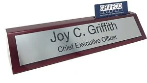 Personalized Engraved Business Desk Name Plate With Card Holder 10 Length