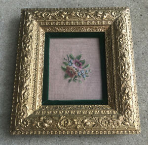 Antique 1900 S Victorian Wood Ornate Gold Gilt Floral Photo Picture Frame Vintag