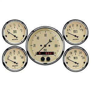 Autometer 1850 Antique Beige 5 Gauge Set Fuel oil speedo volt water
