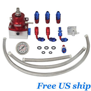 Kyostar Fuel Pressure Regulator Kit With Oil 160psi Guage Braided An6 End Hoses