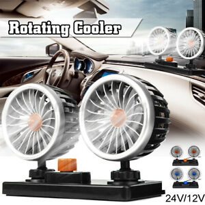 24v Dual Head Car Suv Auto Cooling Cooler Fan Portable 360 Rotatable Low Noise