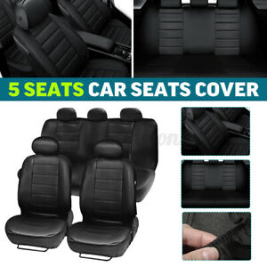 9pcs Universal Car Seat Cover Accessories Covers Front Rear Head Rests Full Set