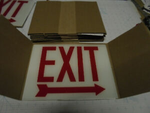 6 lot Cooper Lighting Exit Sign Replacement Glass Lens Right Arrow 8 3 4 X 12