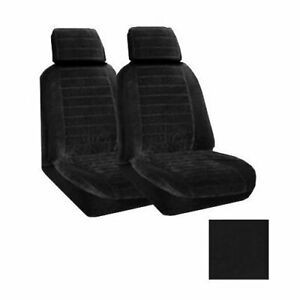 Set Of 2 Universal Fit Low Back Encore Pattern Front Bucket Seat Cover Black