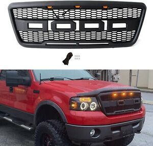 For 2004 2008 Ford F150 Raptor Style Matte Black Front Hood Grille W Led Grill