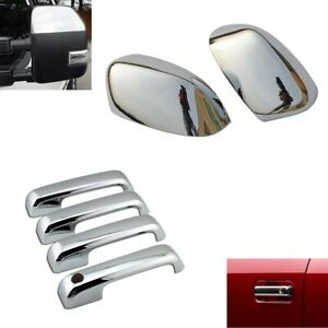 For 2017 2021 Ford F250 F350 F450 Top Half Chrome Mirror 4 Door Handle Covers