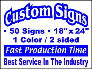 50 18x24 1color 2sided Custom Yard Signs Real Estate Campaign Political