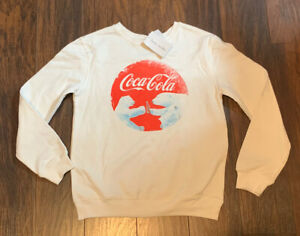 Love Tribe Women's Juniors White  Coca-Cola  Xmas Sweatshirt Size M