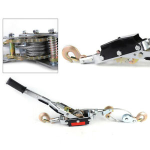 Heavy Duty Power Puller 5 Ton Capacity Come Along Cable Puller Tool W 3 Hooks