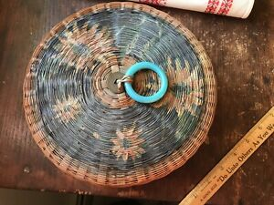 Chinese Sewing Basket Blue Peking Glass Ring Old Coin Floral Paint