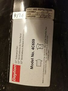 Dayton 4c659 12 In Blade Belt Drive Tubeaxial Fan With Motor And Pulleys