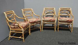 Set Of Four Mcguire Vintage Mid Century Bamboo Side Chairs W Rose Floral Fabric