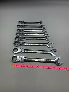 Gearwrench 8 Pc Sae Locking Flex Combination Ratcheting Wrench Set Used Tt287