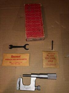 Starrett No 220 Mul t anvil 1 Micrometer W Wrench Rod Anvil Original Box