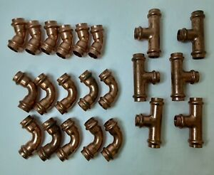 1 2 Propress Copper Fittings tees Elbows 45 And 90s Press Fittings Lot Of 22