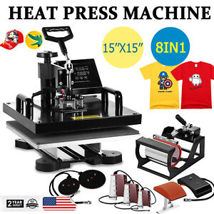 8 In 1 Heat Press Machine For T shirts Combo Kit Sublimation Swing Away 15 x15