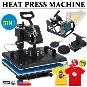 5in1 Heat Press Machine Transfer Sublimation 15 X 12 T shirt Hat Plate Cap Mug