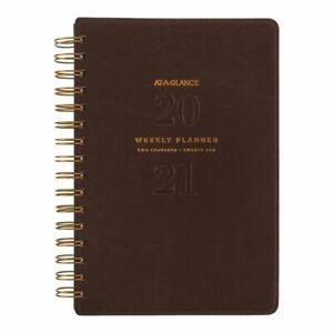 At a glance Signature Weekly monthly Planner 5 1 2 X 8 1 2 Brown Yp20009