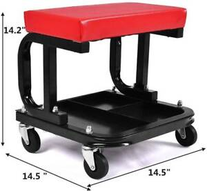 Mechanic Padded Trolley Seat Car Van Garage Tool Workshop Stool 4 Swivel Wheels