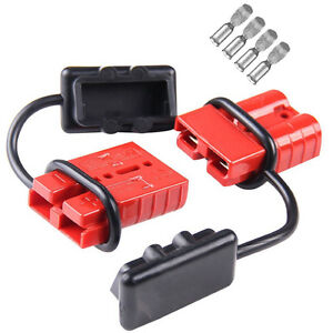Pair 50a Battery Trailer Pair Plug Quick Connector Kit Connect Disconnect Winch