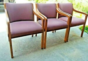 3 Oak Upholstered Waiting Room Chairs Tiffin Ohio Pick Up Only